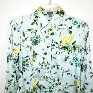 Ann Taylor Roses Vines Button Down Shirt 4 Floral